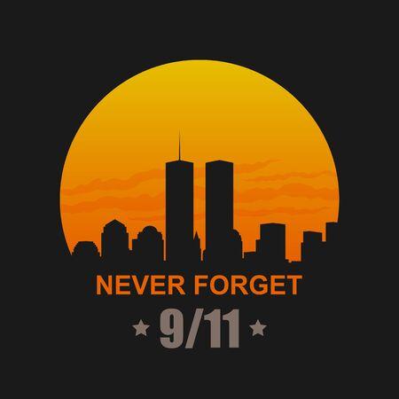 Illustration pour 9/11 Patriot Day, September 11, 2001. Never Forget - image libre de droit