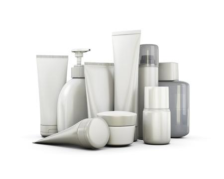 Photo pour Cosmetics set on a white background. 3d illustration. - image libre de droit