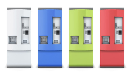 Vending machine for beverages different colors isolated on white background. 3d illustration. Front view. Vending machine for your design.