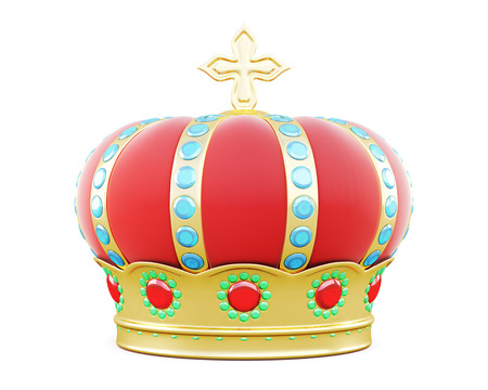 Royal crown isolated on white background. 3d illustration.