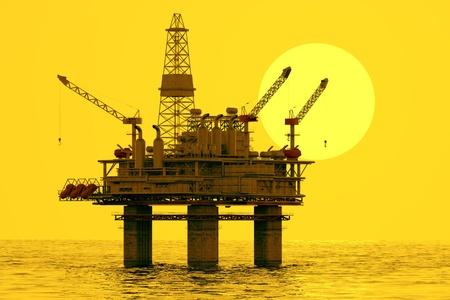 Photo pour Image of oil platform during sunset  - image libre de droit