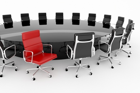 Conference table set with one red chair