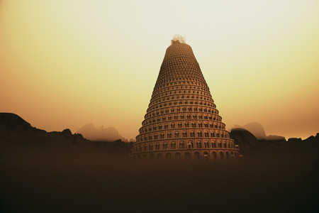 Conceptual image of the Tower of Babel disappearing upwards into the mountain mist as it strives to reach heaven