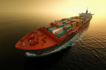Photo pour CG Aerial shot of container ship in ocean. - image libre de droit