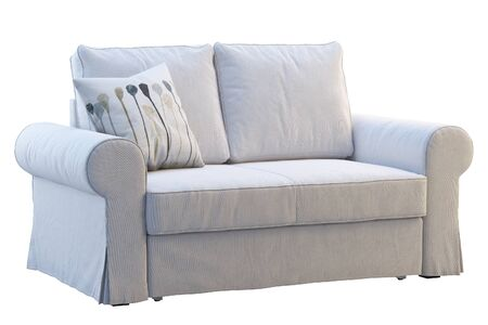 Photo pour Modern white fabric sofa with pillows on white background. Scandinavian interior. 3d render - image libre de droit