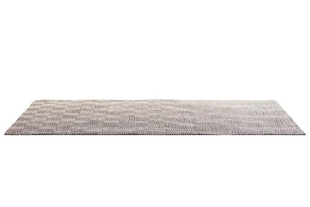 Photo pour Modern brown rug with white geometric pattern on white background with shadows. 3d render - image libre de droit