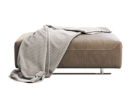 Photo pour Modern brown leather ottoman with plaid. Leather upholstery footrest with knitted blanket on white background. Modern, Loft, Scandinavian interior. 3d render - image libre de droit
