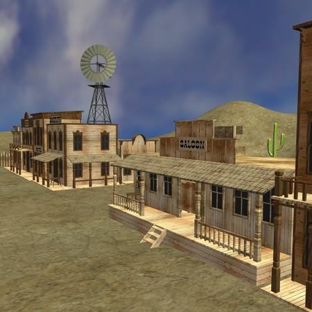 3d render of western town