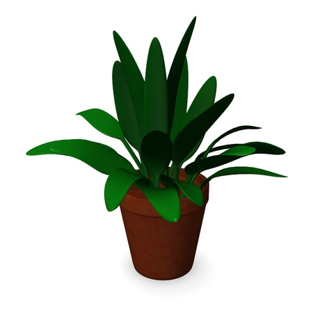 3d render of room flower with pot