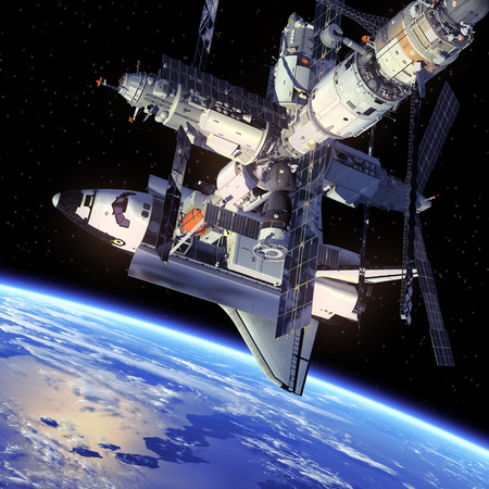 Space Shuttle And Space Station