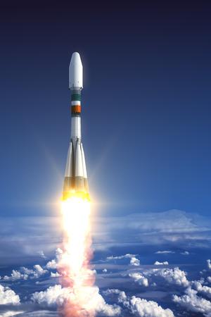 Heavy Carrier Rocket Launch In Clouds. 3D Scene.