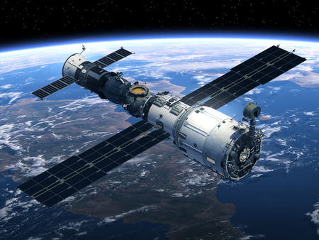 Space Station And Spacecraft In Space. 3D Scene.の写真素材