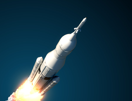 Space Launch System Takes Off. 3D Scene.の写真素材
