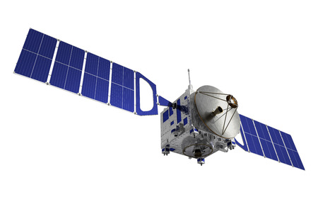 Communication Satellite. 3D Model Over White Background.