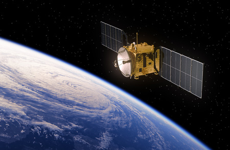 Photo pour Communication Satellite Orbiting Earth. Realistic 3D Scene. - image libre de droit