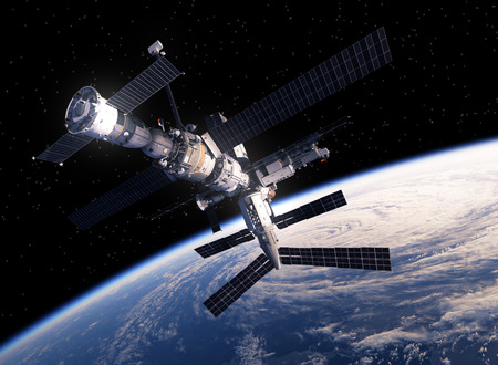 Photo for International Space Station Orbiting Earth. 3D Scene. - Royalty Free Image