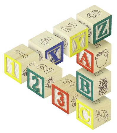 Photo for A penrose triangle created from alphabet blocks. Letters A,B,C, X,Y and Z and numbers 123 are featured. - Royalty Free Image