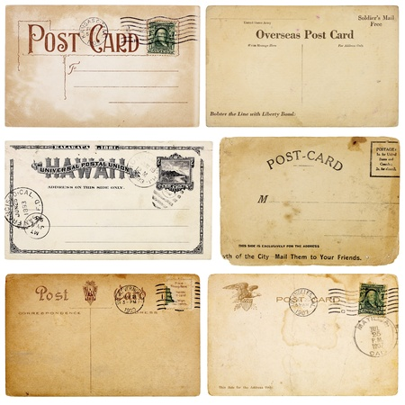 A set of six heavily aged postcards from early 1900s. Each card is blank with room for your text and images.