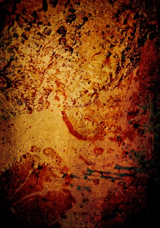 Vibrant, grimy urban background featuring molten texture and vibrant reds, oranges and yellows.