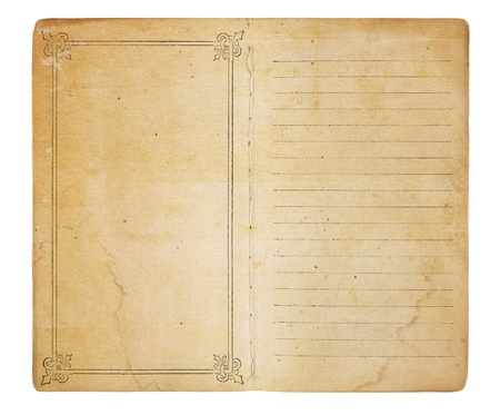 An old memo book opened to reveal yellowing, stained pages. One page is empty except for a border; the other is lined. Both have room for images and text. Isolated on white. Includes clipping path.