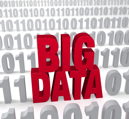A large, red  BIG DATA  stands out in a field of binary  1 s and  0 s  Shallow DOF with focus on  BIG DATA