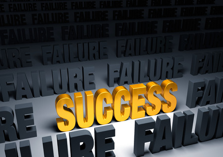 A shining, gold  SUCCESS  stands out in a dark field of gray  FAILURE s