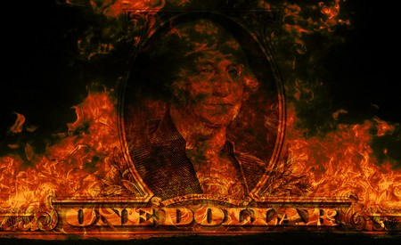 Digital visualization of a burning dollars