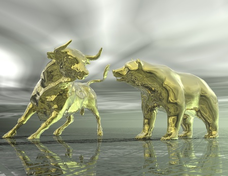 digital visualization of bull and  bear