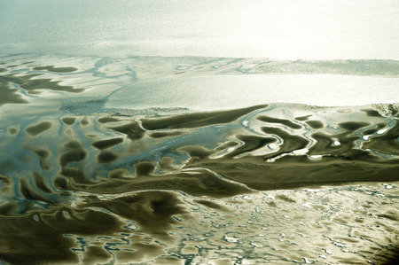 Aerial view from the Schleswig-Holstein Wadden Sea National Park in Germany