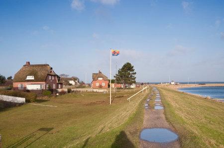 Dike on North Frisian Island Amrum in Germany
