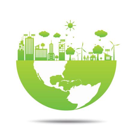 Illustration pour world Green ecology City environmentally friendly . - image libre de droit