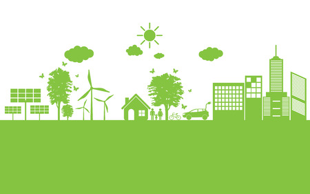 Ilustración de world Green ecology City environmentally friendly . - Imagen libre de derechos
