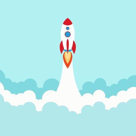 Illustration pour Space rocket launch. Start up concept flat style. Vector illustration. - image libre de droit