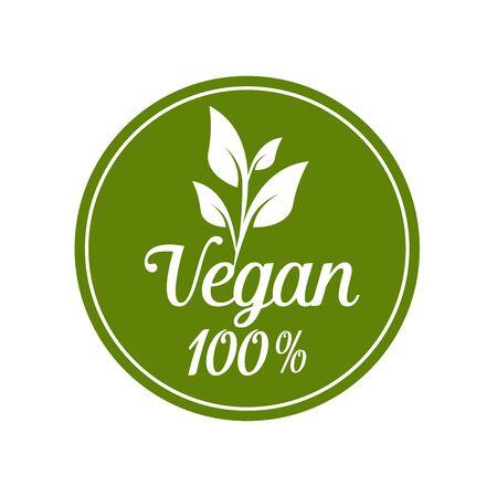 Illustration for 1.Vegan icon set. Bio, Ecology, Organic logos and badges, label, tag. Green leaf on white background. Vector illustration - Royalty Free Image