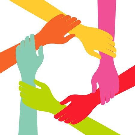 Illustration for Hand Colorful Creative  Connection with Teamwork - Royalty Free Image