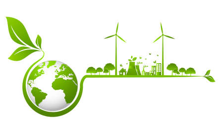 Illustration for Ecology concept and Environmental ,Banner design elements for sustainable energy development, Vector illustration - Royalty Free Image
