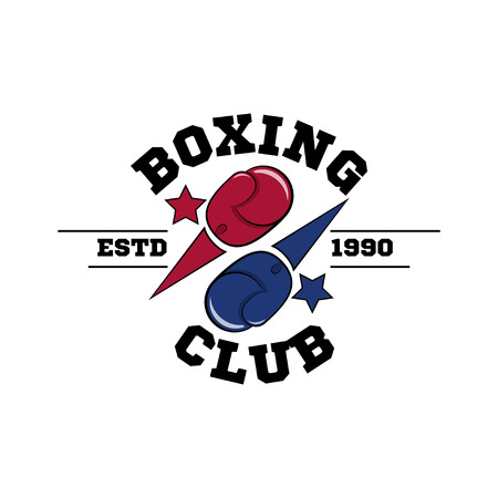 Fighting boxing club logo, flying blue and red gloves