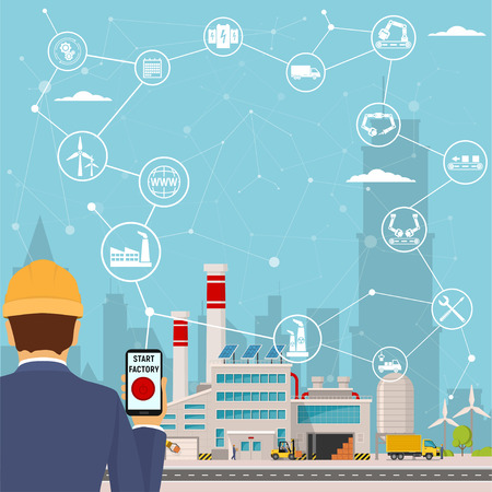 Illustration pour smart factory and around it icons Engineer starting a smart plant. Smart factory or industrial internet of things. vector illustration - image libre de droit