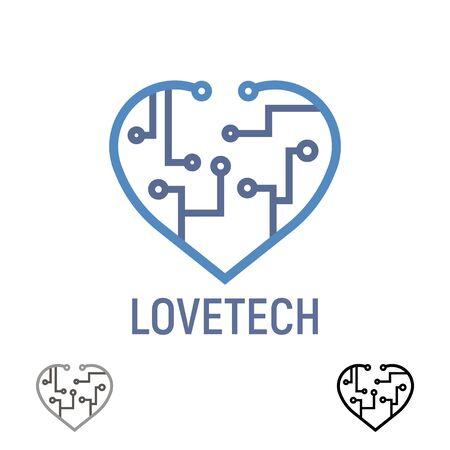 Logo love tech, heart. Technology concept design