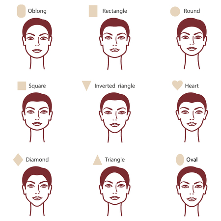 Set of different woman's face shapes