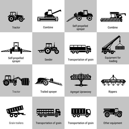 Black agricultural transport icons set on white