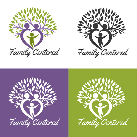 Illustration for medical . Design for health-care organization, spinal surgery clinic, orthopaedic and spine center, therapist, massage cabinet. Brand identity element for your business. Growing family tree concept - Royalty Free Image