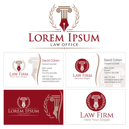 Law with column and wreath in golden colors. Business card design templates for law firm, company, lawyer or attorney office. Corporate Identity law firm, Law Office, Lawyer services