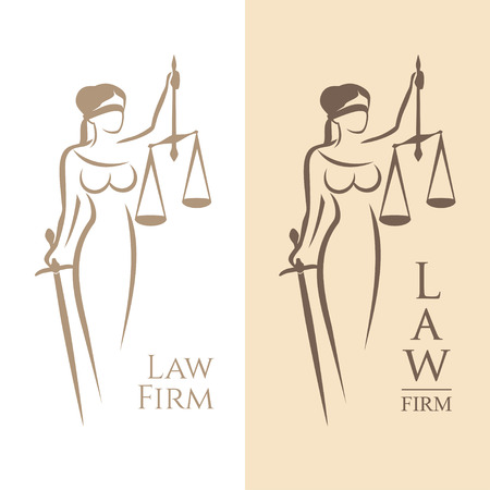 Illustration pour illustration of Themis statue holding scales balance and sword isolated on white background and silhouette on colored background. Symbol of justice, law and order - image libre de droit