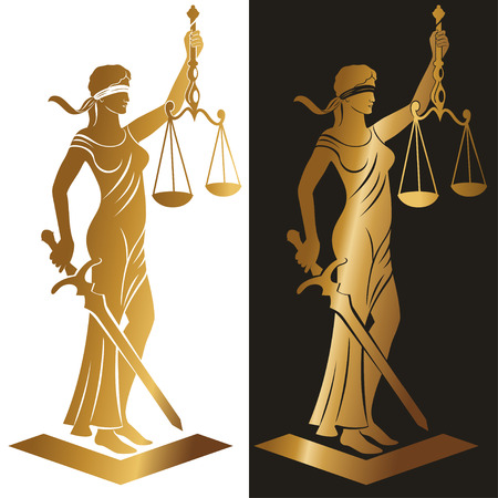 Illustration pour lady justice Gold / Vector illustration silhouette of Themis statue holding scales balance and sword isolated on white background. Symbol of justice, law and order. - image libre de droit