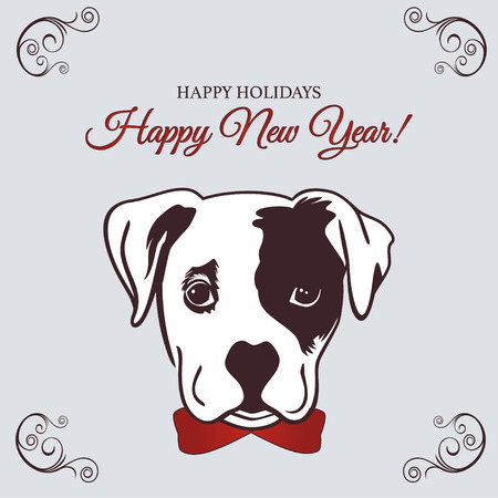Chinese New Year 2018 festive vector card Design with cute dog, zodiac symbol of 2018 year. Vector illustration of Chinese calendar. Vector element for New Year s design.