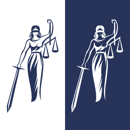 Illustration pour lady justice statue on light and dark background, Vector illustration. - image libre de droit