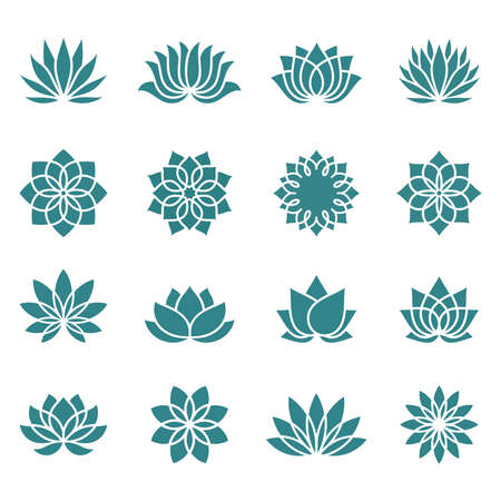 Illustration pour Lotus icons set on a white background. Abstract lotus flower in trendy flat style. Collection icons, symbols for your health and wellness business. Spa sign. Yoga design. Vector illustration. - image libre de droit