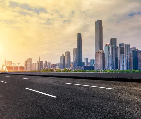 Road and Guangzhou skyline
