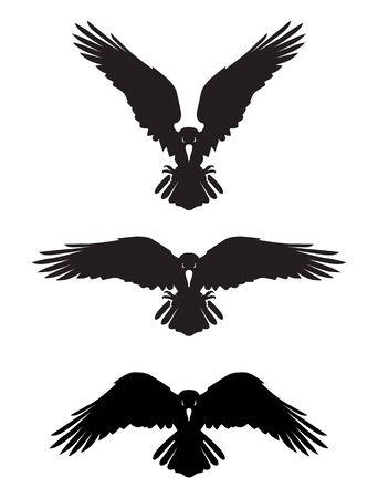Illustration pour Dark Evil heraldic raven with spread wings. Mascot, label. - image libre de droit